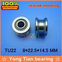 bearings pulleys - 10pcs high quality TU22 mm V U groove pulley bearings T22 mm V groove roller wheel ball bearing T U