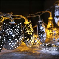 bbq garden party - Hot Sale Two Colors LED String Owl Fairy Mirror Lights Garden Outdoor Summer Party BBQ Wedding Decor