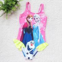 Wholesale New Fashion Girls Frozen Swimming Cute Elsa Anna Princess Swimwear Children Cartoon Printed Ruffle Piece Swimsuit