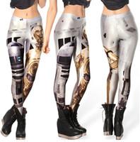 Wholesale Free size Fashion Women s Black milk Star Wars R2 D2 robot clone prints elastic bodybuilding sexy Girl Leggings Pants