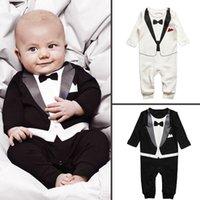newborn clothes - Retail boy s Gentleman tie romper Fashion Newborn Baby One Piece Long Sleeve infant JumpSuit Cotton toddler clothes HX