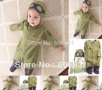 army officers hat - newest Boy s Airlines Flying Officer romper Baby One Piece romper long sleeve one piece with hat Army Green Astronaut jumpsuit