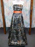 Wholesale Custom Made Full Camo Prom Wedding Bridesmaids Dress With Belt Satin Fabric New Arrival Design Popular
