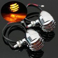 Wholesale Pair V Bullet Style Chrome Turn Signal Indicator Light Lamp For Harley Davidson Chopper Dyna Bobber CAFE RACER order lt no track
