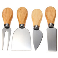 Wholesale Picnic Time Circo Cheese Set of Cheese Knives Modern Sleek Wooden Handles Stainless Steel Blades