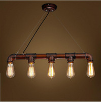Cheap 2016 new arrovals Retro Industrial Edison Bulbs 5 Heads Pendant Light Iron Water Pipe Copper Color Dining Room Bedside Cafe Shore Decor Drop