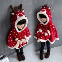 Wholesale Cute Deer Shape Dot Winter Kids Girls Hoodie Cloak Coat