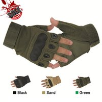 Wholesale OK Brand Tactical Fingerless Gloves Army Outdoor Paintball Airsoft Military Hunting Motorcycle Half Finger Carbon Knuckle Gloves