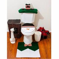Wholesale Santa Snowman Toilet Seat Cover And Rug Set The Latest Chrismas Gift Fashion piece set