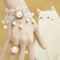 Wholesale pearl pendant white lace Bracelets for beautiful bride wedding dresses wedding jewelry
