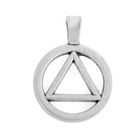 aa symbols - 10pcs mm zinc alloy antique silver plated AA Alcoholics Anonymous Triangle In Circle Symbol charm