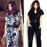 exotic - Women Ladies Elegant Short Sleeve V neck Exotic Jumpsuit rompers Pants Shirts Playsuit With Waistband