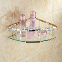bathroom glass shelf brackets - And Retail Single Tier Corner Bracket Golden Brass Glass Bathroom Shelf Shower Caddy Basket Holder