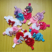 Wholesale New Baby Headbands For Girls Hair Accessories Shabby Flower Headbands Hair Bows Colors Available