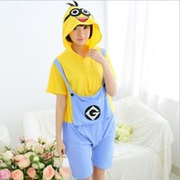 Wholesale Despicable Me Minions Cartoon Animal Piece Pajamas Cute Cotton Short Sleeves Men And Women Couple Home Service