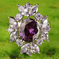 agate cut - 2015 A0066 Round Topaz Lady Engagement Sapphire Oval Cut Amethyst Tourmaline Gemstones Silver Ring Size