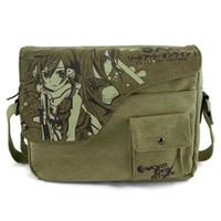 Wholesale New Anime Cartoon image SAO Sword Art Online Asuna pattern canvas Flip open cover retro single Shoulder bags Messenger Bags gift