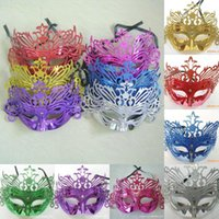Wholesale New Mens Woman Mask Halloween Party Latex Masks Masquerade Mardi Gras Venetian Dance Party Face gold shining plated Mask colors MYF260