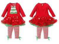 Wholesale Girls Christmas gifts party dress outfits long sleeve baby sets Xmas Tshirt tutu skirt strip pants Oneck tops set girls suit