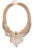 adorn artificial - Gold Intricate artificial stone Adorn Bridal Maxi Necklace LC00099