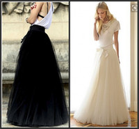 Wholesale Fashion A Line Skirts Tulle Floor Length Party Dresses Custom Made White ANd Black Women Skirts