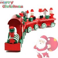 Wholesale 2015 Hot New Lovely Charming Piece little train Wood Christmas Train For Ornament Decoration Decor Kids Gift