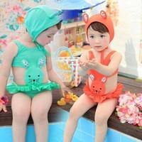 baby swim equipment - 2014 rabbit child swimwear female hot spring swimsuit child one piece baby swimming equipment