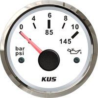 Wholesale 52mm white Oil pressure gauge bar for marine boat stainless steel bezel LED backlight white face