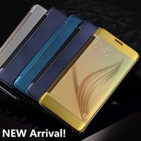 Wholesale Mirror Clear View Flip Sleep Smart Case for Samsung Galaxy S7 S6 edge Plus Note plated Transparent Leather Plastic Shell Fashion Cover