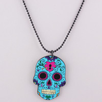 Wholesale European Skeleton Necklace Acrylic Long Chain Punk Skull Pendant Design Collar Choker Necklace Girls Fashion Jewelry N407