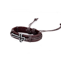 Wholesale GR Jewelry Fashion Cross Brown Leather Bracelets Lovers Sport Bracelets