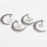 Wholesale Vintage Moon Star Charm Antique Silver Metal Zinc Alloy Trendy Moon Charms For Necklace Pendants Making mm