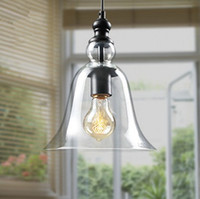 85-265V antique glass lamp shade - Antique Vintage Style Glass Shade Ceiling Light Pendant Lamp Fixture American modern Loft crystal bell pendant light