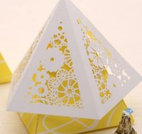 wedding and baby favors - 300pc Special Pyramid Shape Flower style Wedding candy box and baby shower favors J87