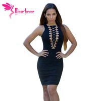 accent style - Hot Summer Style Sexy Sleeveless Gold Ring Accent Lace Up Black Mini Dress Vestidos Casual little black party dress LC22350
