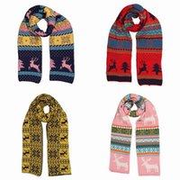 Wholesale Fashion Unisex Knitted Scarves Deer Pattern Soft Warm Shawl Wraps Neckerchief Christmas Gift Style Choose ELE
