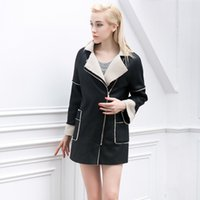 Wholesale New Winter Black Lapel Fur Collar Wool Coat Mid long Women s Leather Patchwork Zipper Wool Jacket Loose Outerwear Trench Coat
