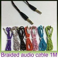 Armadura usada España-Car Weave Audio cable de conexión Cable de buena calidad colordul aux cable cable de audio auxiliar de 3,5 mm uso general para samsung iPhone MP3