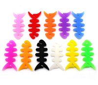 Wholesale Multi colors Silicone Rubber Fish Bone Earphone Cable Wire Cord Organizer Holder Winder for MP3 Headphone
