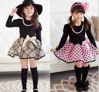 Spring / Autumn tutu dress - Autumn Girl Clothing Princess Dress The Classic British Grid Children Cosplay Dresses Pure Cotton Long Sleeve Kids Tutu Dress WD280