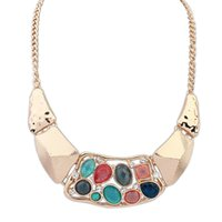 american metal export - Stone Chrysocolla Kolye Exports of European And American Fashion Jewelry New Metal Money Necklace Europe Exaggerated Personality