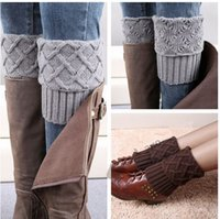 Wholesale Hot winter leg warmers Rhombus Plaid Boot cuff Short Flanging Leg Warmers Knitted Leg Warmers Foot socks boot cuff knit leg warmer B176