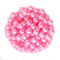 Wholesale Pink Color ABS Faux Pearl Beads U Pick Size mm mm mm mm Round Acrylic Plastic Spacer Loose Beads DIY Craft