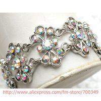 aurora borealis bracelet - piece Aurora Borealis Crystal Rhinestone Wedding Bracelet D031 F