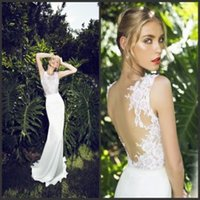 Cheap New Arrival 2015 Sheer Wedding Dresses Lace Backless Wedding Dress Jewel Stretch Satin Cheap Beach Bridal Gown Garden Sheath Wedding Gowns