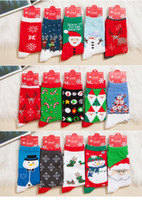 Wholesale 2015 Xmas Fashion Christmas Snowman Snowflake Deer Design Womens Socks Cute Christmas Gift Cotton Socks