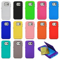Wholesale Samsung Galaxy S6 G9200 Silicone PC phone Case Card Business Card Holder Case Multi function Phone Case Cell Phone DHL