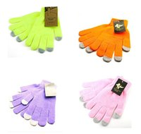 Wholesale Colourful Stretchable Winter Warm Touch Screen Gloves Capacitive Screen Conductive Cotton Glove for Capacitive Screen Cellphone tablet