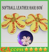 Cheap Real softall shades of Yellow hair bow with baseball embellishment on choice of clip or hair tie