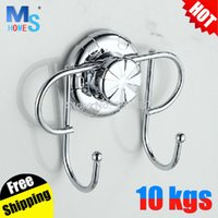 bead hanger - Deal clothing bathroom accessories stainless steel suction double wall hanger coat hooks beads for kitchen door key holder robe